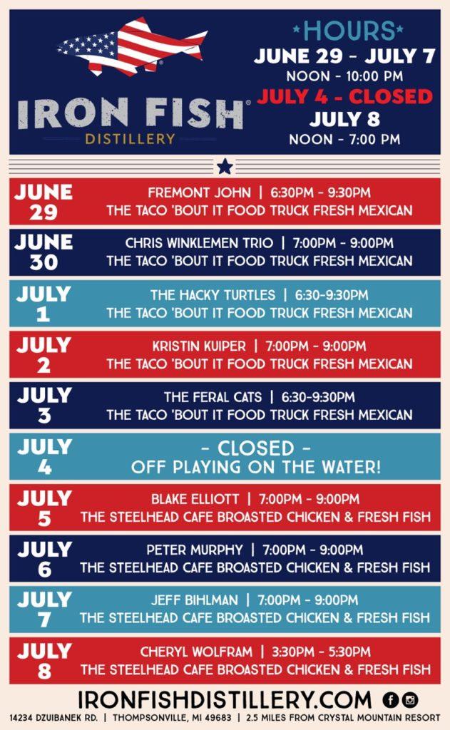 4th of july iron fish distillery for Iron fish distillery thompsonville mi